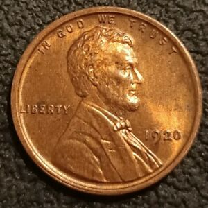 1920 P No Mint Mark Lincoln Cent Wheat Penny 1c Uncirculated GEM BU+ Red P2152