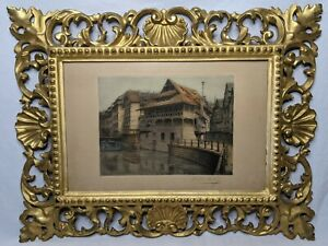 Victor Valery Colored Etching Signed Gold Painted Art Nouveau Frame French Art