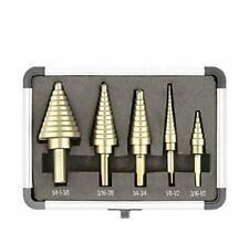 5 Pcs Step Drill Bit Set High Speed Steel Hss Standard Holes X-Type Openings New