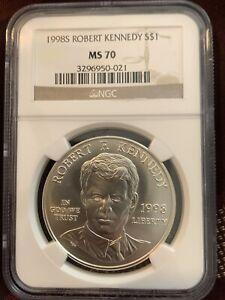 1998 S $1 Robert F Kennedy Commemorative Silver Dollar NGC MS70