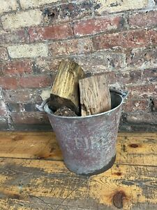 Fabulous Galvanised Steel Vintage Red Fire Bucket, Planter / Log Bin / Storage