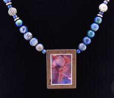 2Pcs 16g Wrapped Blue Peach Sea Sediment Jasper /& Pyrite Connector Pendant Bead