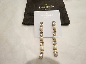 Kate Spade Linear Earrings 14Kt Gold Filled Pearl Clear Multi $78 Auth. New NWT