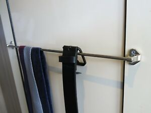 Wardrobe Tie & belt rail, 375mm length polished nickel finish with  screws x1