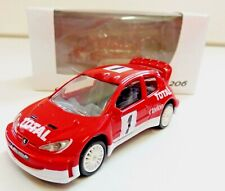 """PEUGEOT 206 Rallye Rouge 1/64 """"3 Inche"""" Norev Diecast Neuf Boite"""