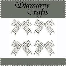 4 x 33mm Clear Diamante Bows Self Adhesive Rhinestone Vajzzle Body Art Gems