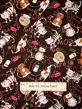 Benartex Kanvas Studio C Is For Cat Fishbowl Kitty Cats Brown Cotton Fabric YARD