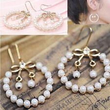 pendientes anillo con lazo Pendientes Estrás Perlas Color Oro