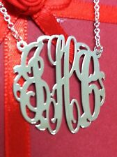 SPECIAL MONOGRAM INITIAL NECKLACE SOLID STYLE  STERLING SILVER 1.25""