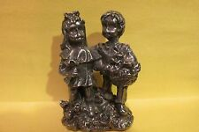 Pewter Boy And Girl Figurine