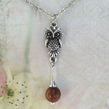 Owl Necklace with Goldstone