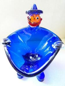Art Glass Vintage Studio Blue Mexican Man Footed Bowl