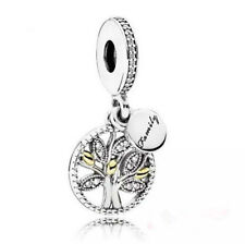 DIY Tree European CZ Crystal Charm Silver Spacer Beads Fit Necklace Bracelet