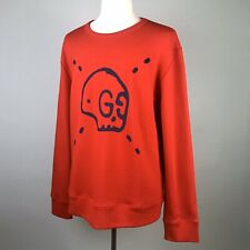 Gucci Red GucciGhost Sweatshirt Size 3XL Blue Graphic Trouble Andrews Skull Top