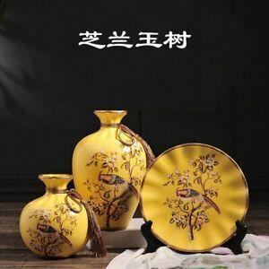 European Ceramic Vase Three-piece Set Creative Crafts Home Decoration Ornaments