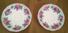"""ROSLYN """"RUSTIC GEM"""" SAUCER English Fine Bone China from England Set Of 2"""