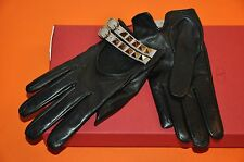 AUTHENTIC NEW VALENTINO BLACK LEATHER ROCKSTUD DOUBLE STRAP DRIVING GLOVES,size7