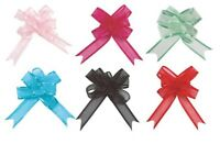 PINK TURQUOISE BLUE MINT GREEN BLACK RED 5 small organza pull bows gift wrapping