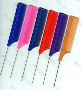 Metal Pin Tail Comb (Hairdressers/Barbers) PINK, RED, PURPLE, BLUE, BLACK