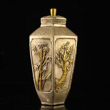 """7"""" qianlong antique Tibetan silver gilt Plum orchid bamboo chrysanthemum jar"""