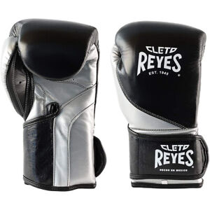 Cleto Reyes High Precision Hook and Loop Boxing Gloves - Black/Silver Bullet