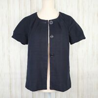 J Crew Navy Blue Jacket Size 4 Womens Lined Cotton Blazer Pleated Short Sleeves