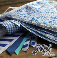 3m -12m JILPI BABY BLUE FABRIC BUNTING, GINGHAM STRIPED PLAIN FLORAL, HANDMADE!