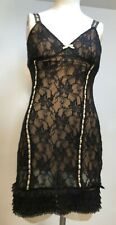 $300 GUESS WOMEN BLACK FLORAL-LACE CAP-SLEEVE RUFFLED SHEER SHEATH DRESS SIZE 2