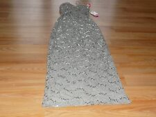 Size 1-2 Morgan & Co. Taupe Lace Sequined Long Formal Dress Strapless Spaghetti