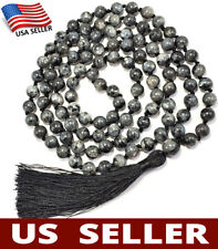 US HANDMADE❤ 108 Japa Mala STONE OF MAGIC Labradorite Hand-Knotted Yoga Necklace