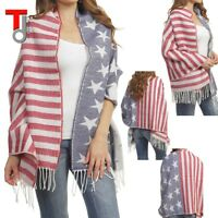 PATRIOTIC AMERICAN FLAG PRINT FRINGED OVERSIZED SCARF