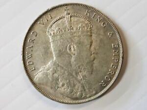 1907 Straits Settlements Silver Dollar Coin King Edward VII