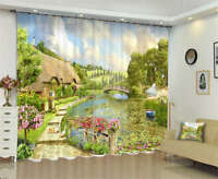 Flowers Grass Surround 3D Curtain Blockout Photo Printing Curtains Drape Fabric
