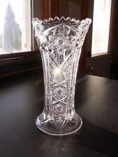 EAPG Cambridge #2635 Clear Pressed Glass Near Cut Snowflake FERNLAND Corset Vase