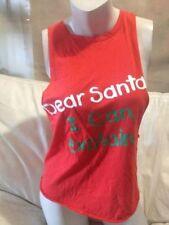 DEAR SANTA I CAN EXPLAIN  XMAS-CHRISTMAS TOP RED  SZ XXXS - FREE POST (A34)
