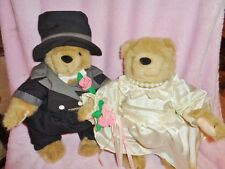 Bear Bride Groom Lillian Vernon Wedding Couple jointed stuffed plush Tuxedo hat