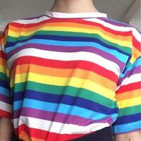 Women Rainbow Tshirt Striped Tops Summer T-shirt Mom Female Sun Short Sleeve