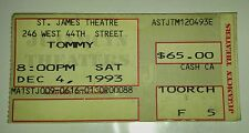1993 The Who Tommy Ticket Stub 12/4/93 St. James Theatre Vg+ 4.5