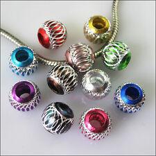 12 New Mixed Silver Carved Lantern Aluminium Beads fit European Charm Bracelets