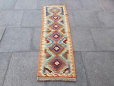 Vintage Kilim Traditional Hand Made Oriental Orange Wool Kilim Runner 191x60cm
