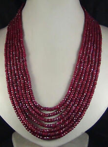 Beautiful 7 Rows Faceted 2x4mm Red Ruby Rondelle Gems Beads Necklace 17-23'' AAA