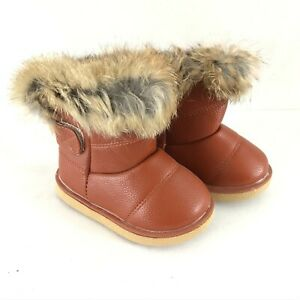 Toddler Girls Boots Faux Leather Faux Fur Lined Hook & Loop Brown Size 22 US 6