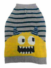 Monster Blue Striped Pet Dog Sweater Size Medium M 17 to 22 inch neck to tail