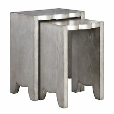 Scalloped Silver Rustic Wood Nesting Table Set | Curved Gray Pair