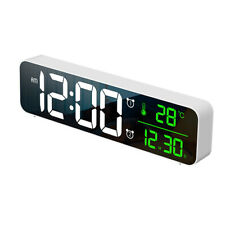 LED Digital Alarm Clock Temperature Music Alarm USB Power Wall Clock - White