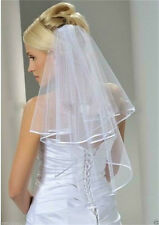 New 2T Ivory Wedding Bridal Veil Elbow Length Satin Edge With Comb Elange #