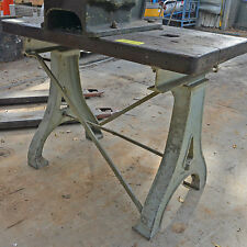 Vintage heavy duty industrial table 65mm thick hardwood top cast iron frame
