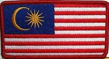MALAYSIA Flag Patch With VELCRO® Brand Fastener Red Border