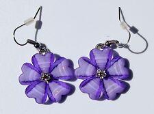 Earring Sparkle Hibiscus Plumeria Heart Flower Dangle Hawaii Luau CZ Purple
