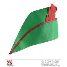 Green Robin Hood Peter Pan Hat With Red Feather Detail Fancy Dress Costume Prop